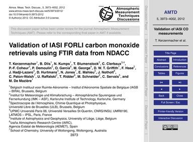 Validation of Iasi Forli Carbon Monoxide... by Kerzenmacher, T.