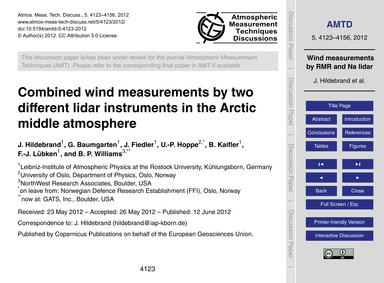 Combined Wind Measurements by Two Differ... by Hildebrand, J.