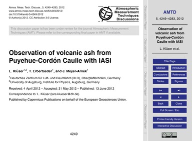 Observation of Volcanic Ash from Puyehue... by Klüser, L.