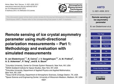 Remote Sensing of Ice Crystal Asymmetry ... by Van Diedenhoven, B.