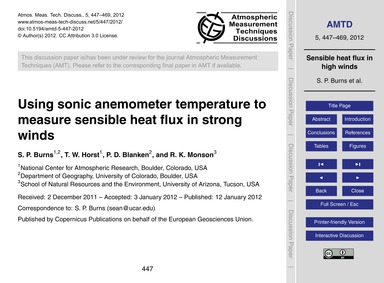 Using Sonic Anemometer Temperature to Me... by Burns, S. P.
