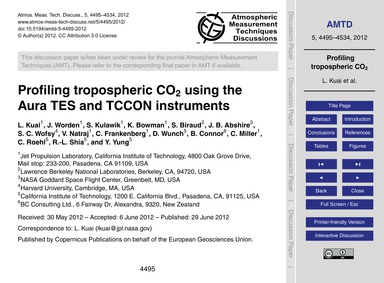 Profiling Tropospheric Co2 Using the Aur... by Kuai, L.