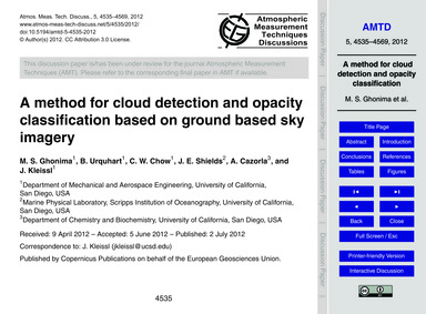 A Method for Cloud Detection and Opacity... by Ghonima, M. S.