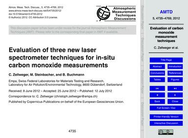 Evaluation of Three New Laser Spectromet... by Zellweger, C.