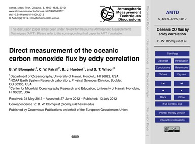 Direct Measurement of the Oceanic Carbon... by Blomquist, B. W.