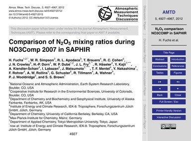 Comparison of N2O5 Mixing Ratios During ... by Fuchs, H.