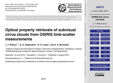 Optical Property Retrievals of Subvisual... by Wiensz, J. T.
