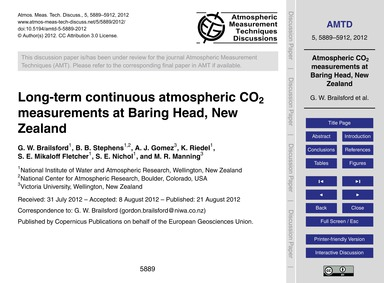 Long-term Continuous Atmospheric Co2 Mea... by Brailsford, G. W.