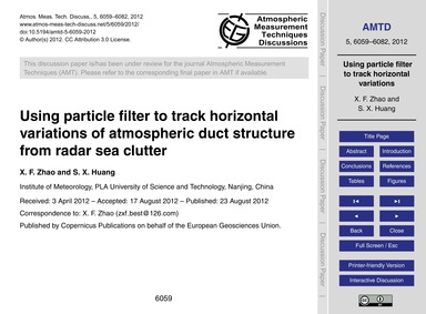 Using Particle Filter to Track Horizonta... by Zhao, X. F.