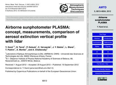 Airborne Sunphotometer Plasma: Concept, ... by Karol, Y.