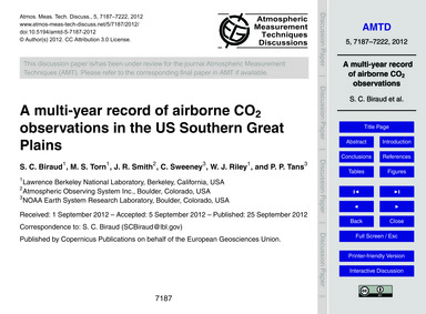 A Multi-year Record of Airborne Co2 Obse... by Biraud, S. C.