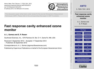 Fast Response Cavity Enhanced Ozone Moni... by Gomez, A. L.