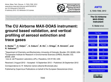 The Cu Airborne Max-doas Instrument: Gro... by Baidar, S.
