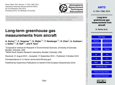 Long-term Greenhouse Gas Measurements fr... by Karion, A.