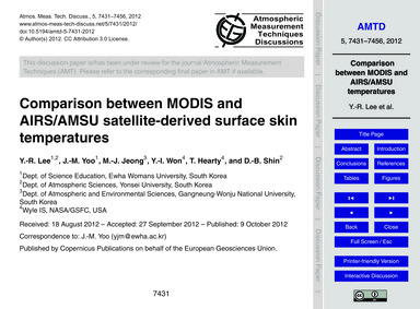 Comparison Between Modis and Airs/Amsu S... by Lee, Y.-r.