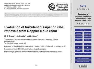 Evaluation of Turbulent Dissipation Rate... by Shupe, M. D.