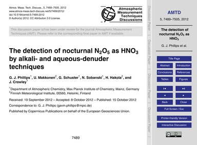 The Detection of Nocturnal N2O5 as Hno3 ... by Phillips, G. J.