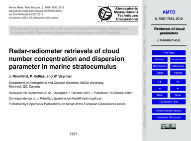Radar-radiometer Retrievals of Cloud Num... by Rémillard, J.