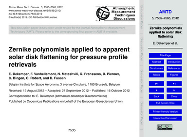 Zernike Polynomials Applied to Apparent ... by Dekemper, E.