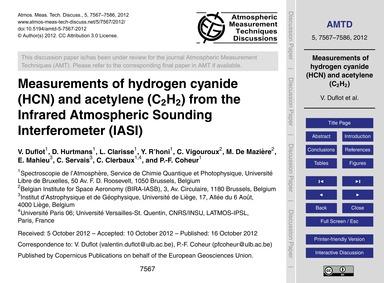 Measurements of Hydrogen Cyanide (Hcn) a... by Duflot, V.