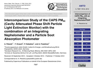 Intercomparison Study of the Caps PmEx (... by Petzold, A.