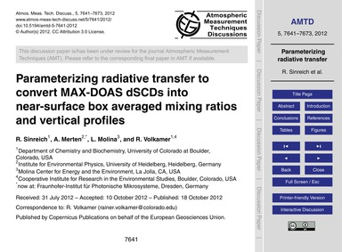 Parameterizing Radiative Transfer to Con... by Sinreich, R.