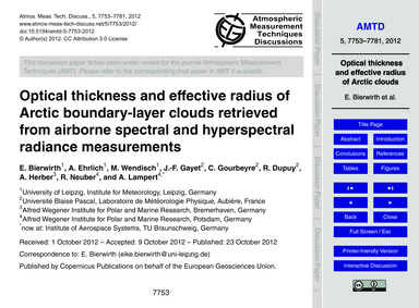 Optical Thickness and Effective Radius o... by Bierwirth, E.