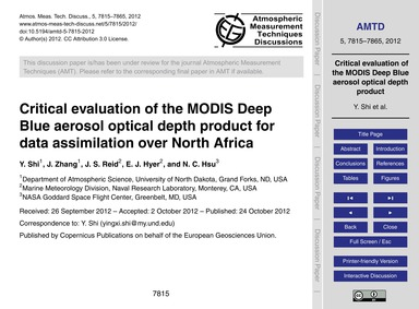 Critical Evaluation of the Modis Deep Bl... by Shi, Y.