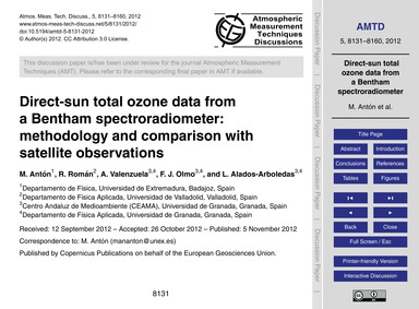 Direct-sun Total Ozone Data from a Benth... by Antón, M.