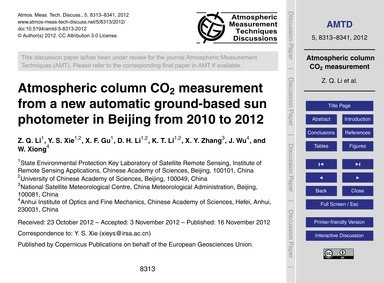 Atmospheric Column Co2 Measurement from ... by Li, Z. Q.