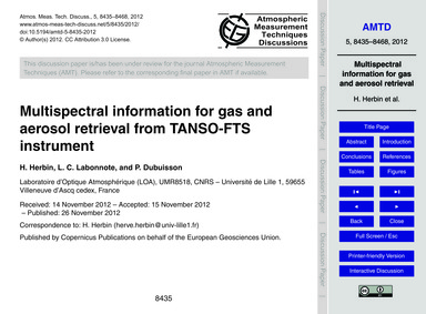 Multispectral Information for Gas and Ae... by Herbin, H.