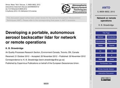 Developing a Portable, Autonomous Aeroso... by Strawbridge, K. B.