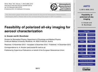Feasibility of Polarized All-sky Imaging... by Kreuter, A.