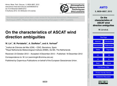 On the Characteristics of Ascat Wind Dir... by Lin, W.
