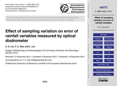 Effect of Sampling Variation on Error of... by Liu, X. C.