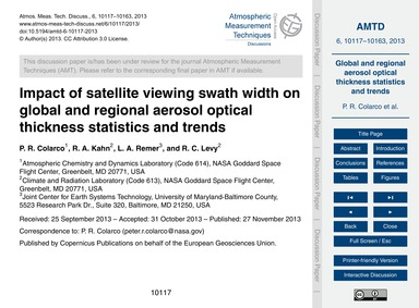 Impact of Satellite Viewing Swath Width ... by Colarco, P. R.