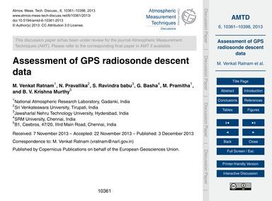 Assessment of Gps Radiosonde Descent Dat... by Venkat Ratnam, M.