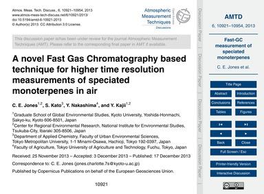 A Novel Fast Gas Chromatography Based Te... by Jones, C. E.
