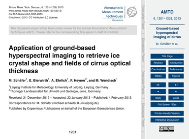 Application of Ground-based Hyperspectra... by Schäfer, M.