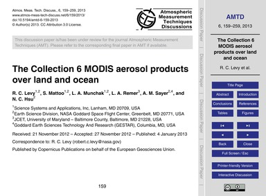 The Collection 6 Modis Aerosol Products ... by Levy, R. C.