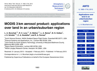 Modis 3 Km Aerosol Product: Applications... by Munchak, L. A.