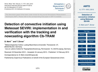Detection of Convective Initiation Using... by Merk, D.