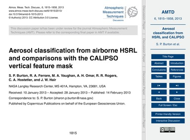 Aerosol Classification from Airborne Hsr... by Burton, S. P.