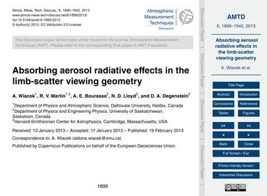 Absorbing Aerosol Radiative Effects in t... by Wiacek, A.