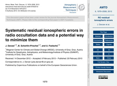 Systematic Residual Ionospheric Errors i... by Danzer, J.