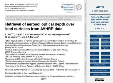 Retrieval of Aerosol Optical Depth Over ... by Mei, L.