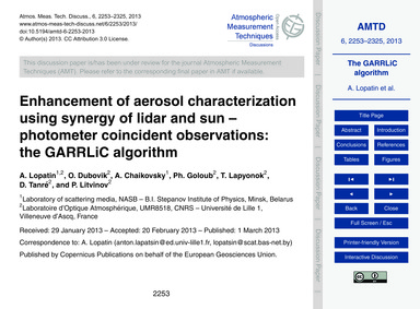 Enhancement of Aerosol Characterization ... by Lopatin, A.