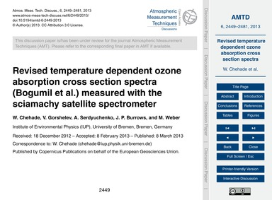 Revised Temperature Dependent Ozone Abso... by Chehade, W.