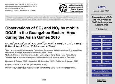 Observations of So2 and No2 by Mobile Do... by Wu, F. C.