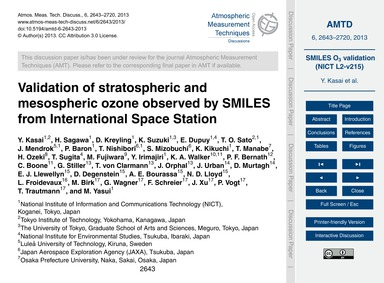 Validation of Stratospheric and Mesosphe... by Kasai, Y.